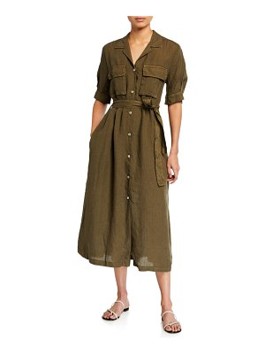 120 Lino Elbow-Sleeve Belted Chest-Pocket Shirtdress
