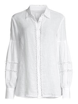 120 Lino embroidered bishop-sleeve covered placket shirt