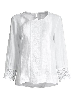 120 Lino embroidered pintuck lace cuff blouse