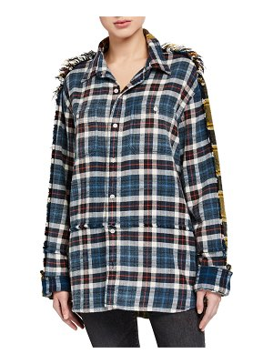 13 Rattles Mended Plaid Button-Down Shirt