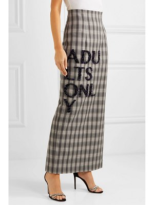 16ARLINGTON embellished checked crepe maxi skirt