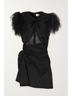 16ARLINGTON sumire feather and lace-trimmed ruched shell mini dress