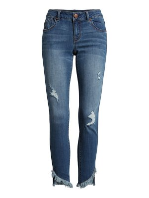 1822 Denim asymmetrical fray hem ankle jeans