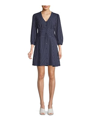 19 Cooper Pinstriped Puffed-Sleeve A-Line Dress