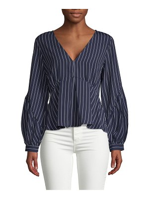 19 Cooper Pinstriped Puffed-Sleeve Top