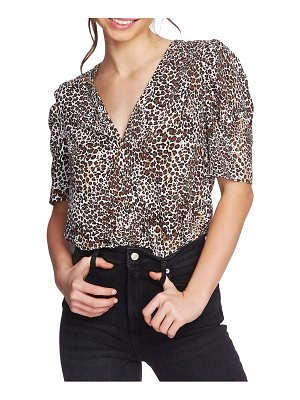 1.State animal print puff sleeve blouse