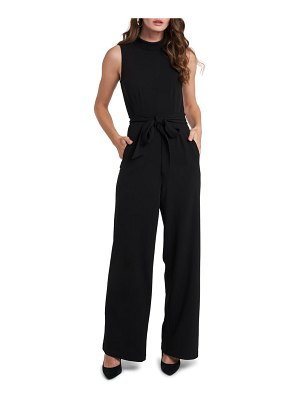 1.State belted sleeveless jumpsuit