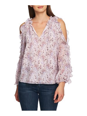 1.State bloomsbury floral ruffle cold shoulder top