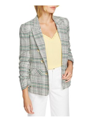 1.State cassia ruched sleeve plaid blazer