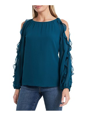 1.State cold shoulder ruffle sleeve blouse