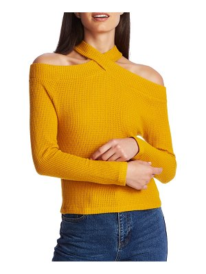 1.State cozy crisscross neck cold shoulder top