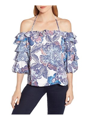 1.State crystal flowers print off the shoulder top