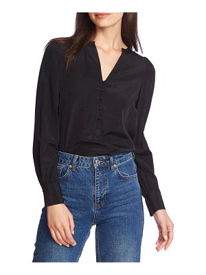1.State dot jacquard button front top