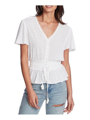 1.State embroidered eyelet peplum top
