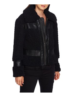 1.State faux shearling bomber jacket