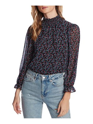 1.State floral smocked mock neck blouse