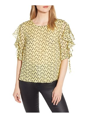 1.State flower etching ruffle sleeve top