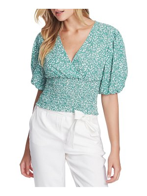 1.State folk silhouette floral smocked waist blouse