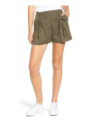 1.State lace-up detail flat front shorts