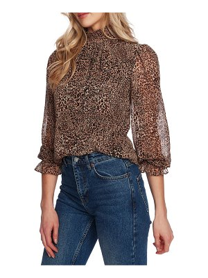 1.State leopard print smocked mock neck blouse