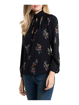 1.State long sleeve floral keyhole blouse