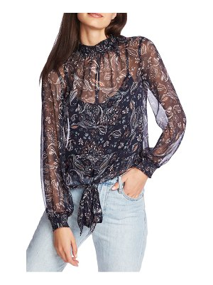 1.State lyrical paisley high neck long sleeve blouse