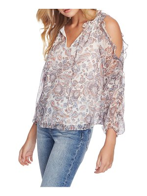 1.State lyrical paisley ruffled cold shoulder blouse