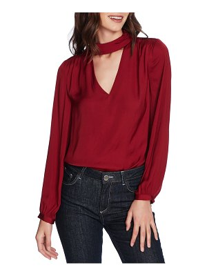 1.State mock v-neck blouse