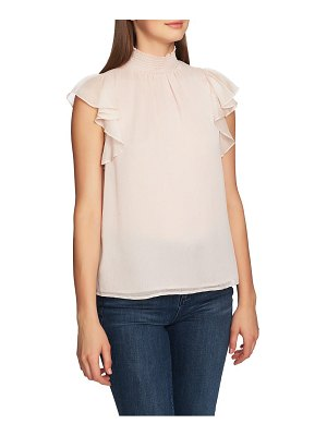 1.State mock neck flutter sleeve top