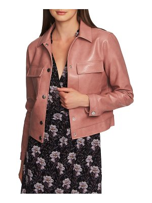 1.State patch pocket faux leather jacket