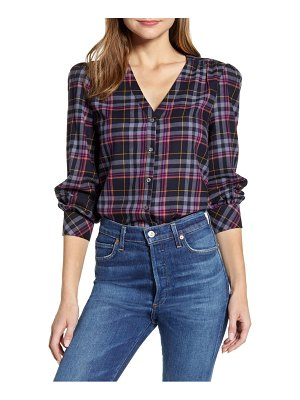 1.State plaid flannel blouse