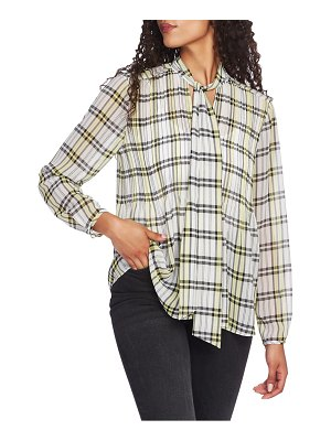 1.State plaid georgette button front blouse