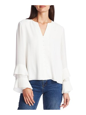1.State pleated ruffle sleeve blouse
