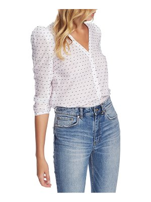 1.State puff sleeve v-neck clip dot top