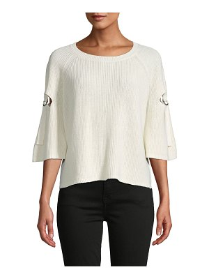 1.State Ribbed Cutout Sweater