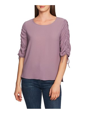 1.State ruched detail tie sleeve blouse