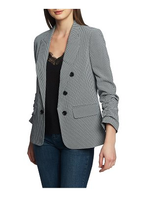 1.State ruched sleeve double breasted gingham blazer