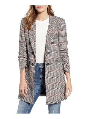 1.State ruched sleeve plaid blazer