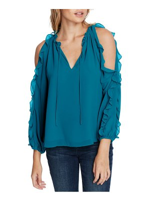 1.State ruffle cold shoulder top