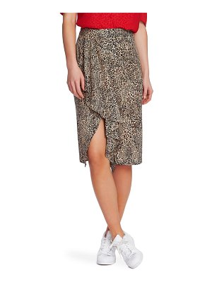 1.State ruffle front leopard print pencil skirt