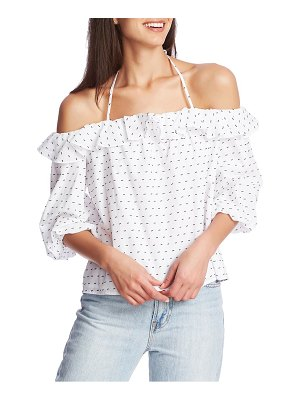 1.State ruffle halter neck clip dot top