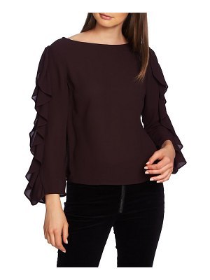 1.State ruffle slit sleeve top