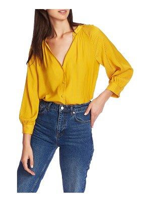 1.State shadow stripe v-neck button front blouse