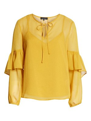 1.State sheer tie neck blouse
