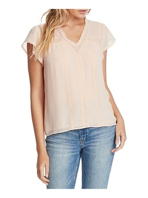 1.State sheer yoke lace trim blouse