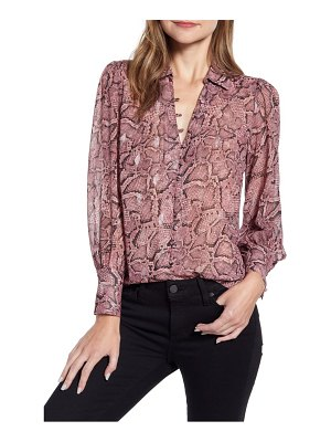 1.State snakeskin print button front blouse