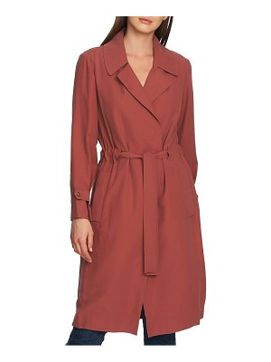 1.State soft twill belted trench coat