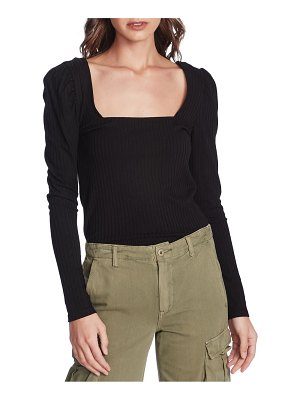 1.State square neck puff shoulder top