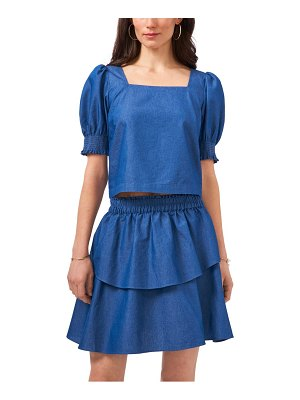 1.State square neck puff sleeve denim top