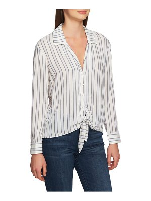 1.State stripe tie front blouse